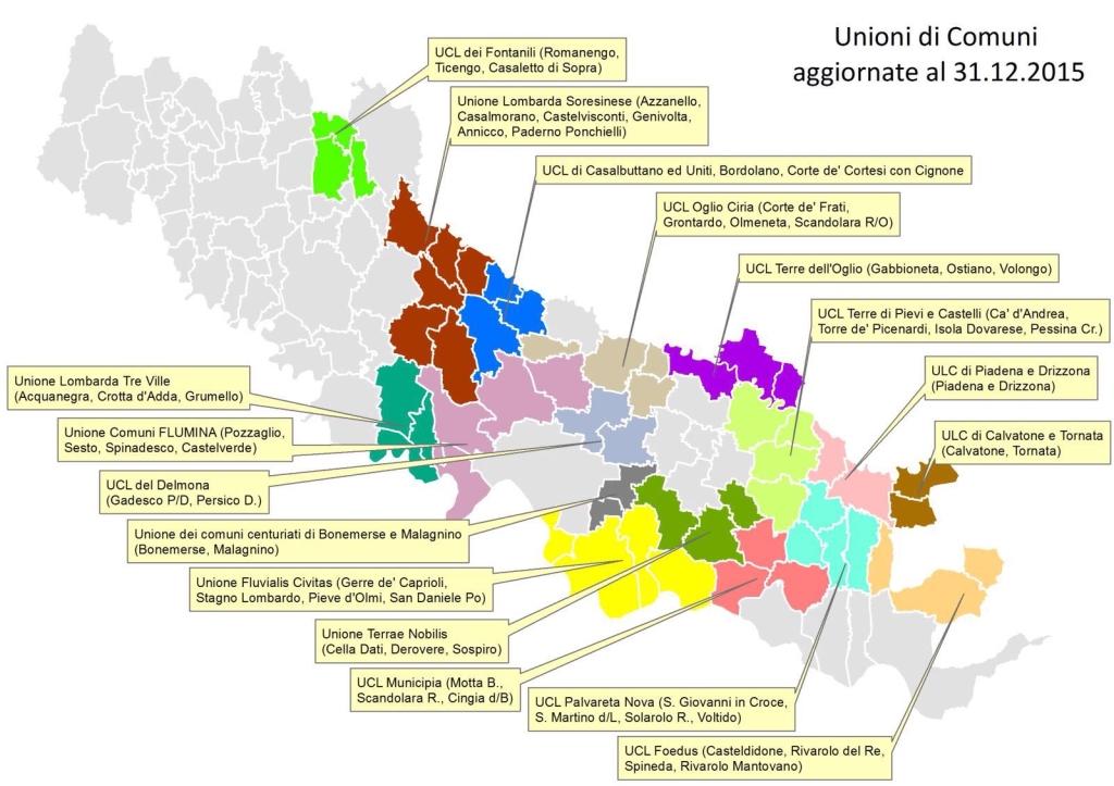 Nella foto la cartina provinciale delle Unioni