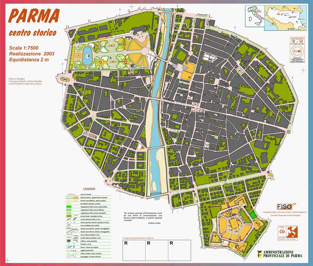 Nella foto la mappa che sarà utilizzata per l'allenamento