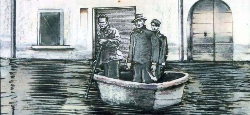 MARCO CAGNOLATI L'alluvione del Po. coll. Luigi Braghiroli - china - cm.18 x 25 - 1990-ev